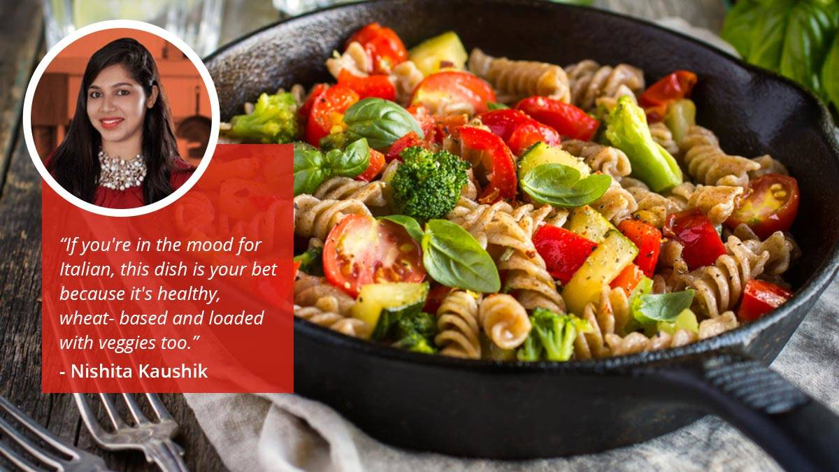 Vegetable Whole Wheat Pasta with Pesto or Red Sauce